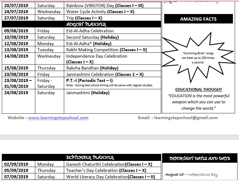 activity planner 1 to 10th 2